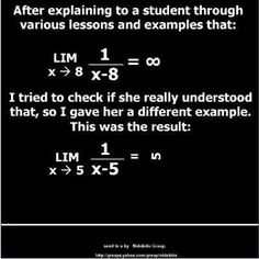 Just one example of the many ways that things can go wrong when you're trying to explain limits to students in a calculus class!  Remember Rimwe has services available to help:  tutoring, professional development, & educational technology training.  Contact us at www.rimwe.com for more information.
