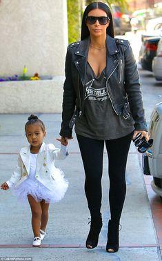 North wears white tutu and Balmain jacket to dance class with Kim #dailymail