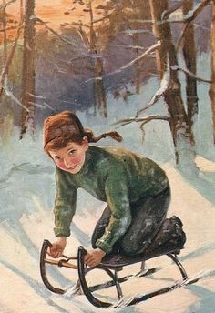 A wonderful childhood and the opportunity to experience a beautiful and unique life in the mountains. Illustration Noel, Winter Illustration, Christmas Illustration, Illustrations, Winter Fun, Winter Christmas, Winter Sports, Vintage Cards, Vintage Postcards