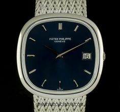 Patek Philippe 18k White Gold Blue Dial Jumbo Cushion Ellipse 3604/2 Our Price:£9950 Call:07885 661 038 and Quote:17071504 for more info. #PatekPhilippe #Gold #Cushion #Ellipse #Jumbo #Gents #Luxury #Wristwatch #WatchCentre #London