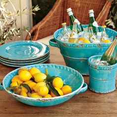 William-Sonoma Rustic Italian Party Tub, Drink Chiller, Shallow Bowl, and Chargers. Must find cheaper versions. Italian Theme, Italian Party, Italian Wine, Italian Style, Italian Pottery, Tuscan Decorating, New Blue, Aqua Blue, Yellow