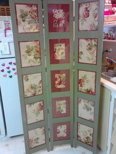 Repurposed photo room divider with chalkboard panels httpswww