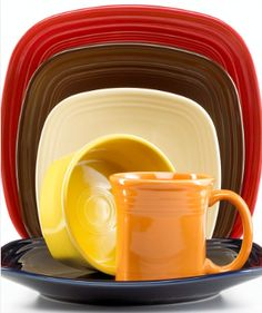 These Fiestaware colors would be perfect for fall!! : fiesta square dinnerware sets - pezcame.com