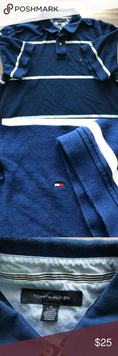 Tommy Hilfiger Men's Blue and White Polo. Size XL Excellent condition! Men's Tommy Hilfiger Polo Shirt. Navy blue with white stripes. There is an extra button on the inside tag.   100% Cotton Tommy Hilfiger Shirts Polos