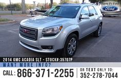 2014 GMC Acadia SLT - V6 3.6L Engine - Alloy Wheels - Remote Keyless Entry - Spoiler - Tinted Windows - Fog Lights Roof Racks - Leather Interior - Powered Windows/Locks/Mirrors/Driver Seat/Passenger Seat - Seats 7 - iPod/Aux/USB Ports - Bluetooth - Heated Front Seats - Onstar - Backup Camera - Cruise Control - AM/FM/CD/XM - Remote Start - Digital Compass - Outside Temperature Display - HomeLink - EZ Lift Tailgate - Dual Climate Control - BOSE Sound System - Marble Trimming and more!