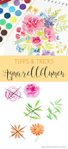 5 Tipps und Tricks: Aquarell Blumen malen Floral watercolor: 5 tips to paint beautiful flowers and l Watercolor Trees, Floral Watercolor, Watercolor Paintings, Simple Watercolor, Tattoo Watercolor, Watercolor Landscape, Watercolor Animals, Watercolor Background, Digital Paintings