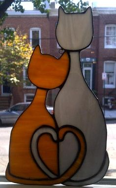 Valentine's Day Gift / Cozy Cats -Stained Glass Sun Catcher