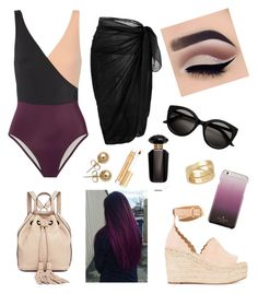 """""""Plum swim 🖤"""" by sabrinawimer on Polyvore featuring Solid & Striped, Chloé, Rebecca Minkoff, Victoria's Secret, Kate Spade, Bling Jewelry, Cartier and Kevyn Aucoin"""