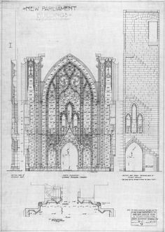 """brick-balloon: """" John Pearson's drawings for the Centre Block of Parliament Hill, showing a section through the Memorial Chamber with elevation of the north wall. """""""