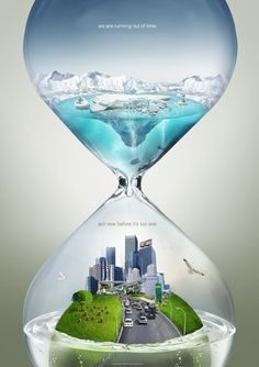 This ad shows polar ice caps that are melting on top of a city, which shows the potential effects of global warming. This is shown within an hourglass shape, which suggests that time is running out.
