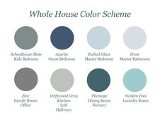 """Whole-House-Color-Scheme via Teal and Lime blog (""""The new Martha Stewart Living paint line at Home Depot is designed to help you coordinate your whole house. Each paint chip has a color key symbol in the upper right hand corner. For easy coordination, simply select colors for your home from the same color key. As long as the symbols match you can't go wrong."""")"""