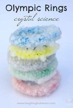 Simple science activity making Olympic Ring crystals - Laughing Kids Learn Preschool Science Activities, Easy Science, Fun Activities For Kids, Science For Kids, Activity Ideas, Olympics Kids Activities, Summer Science, Sports Activities, Science Fair