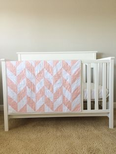 """Crib Quilt. Modern Baby Quilt. Toddler, Twin Sized Quilt. Pink, White Herringbone Quilt. """"The Alexandra"""" Baby Bedding. Baby Gift Gifts by 2ndStitchtotheRight on Etsy https://www.etsy.com/listing/235708731/crib-quilt-modern-baby-quilt-toddler"""