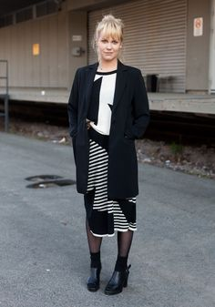 """Elina - Hel Looks - Street Style from Helsinki """"My style is plain and simple. The jacket and the shoes are second hand, the dress from a sale in London. My favourite designer at the moment is Louise Gray. I like her colourful and playful style."""""""