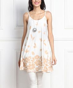 Look what I found on #zulily! White Floral Spaghetti-Strap Tunic #zulilyfinds
