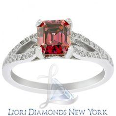 2.05 Carat Fancy Pink Emerald Cut Diamond Engagement Ring 18k White Gold - Color Rings - Lioridiamonds.com