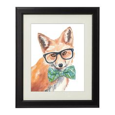 Red Fox PRINT Watercolor Painting PRINT Nerd by WaterInMyPaint