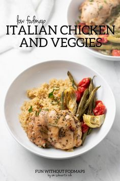 This 8-ingredient Low FODMAP Italian Chicken and Veggies features tender chicken thighs flavored with Italian herbs and low FODMAP amounts of roasted green beans, cherry tomatoes, and canned artichokes. Serve this sheet pan meal over whole-grain quinoa or brown rice. #lowfodmap #chicken #sheetpanmeal Bean Recipes, Diet Recipes, Chicken Recipes, Delicious Recipes, Fodmap Meal Plan, Low Fodmap, Fodmap Diet, Fodmap Foods, Low Carb
