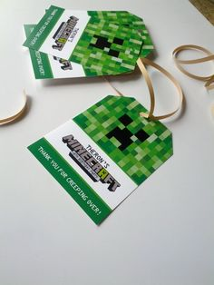 Customized Birthday Favor Tags (8) Minecraft Themed