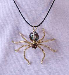 Halloween - Beaded Spider Pendant Necklace. $10.00, via Etsy.
