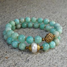 positivity and purity, genuine amazonite gemstone and pearl mala bracelet set #lovepray #jewelry #bracelet sets