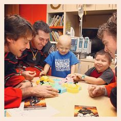 #tbt to Teemu Selanne, Francois Beauchemin and Jonas Hiller playing an intense game of Hungry Hungry Hippos with patients at #CHOCchildrenshospital at the Anaheim Ducks Annual Holiday visit!
