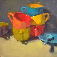 Carol Marine's Painting a Day: Colorful Stacks
