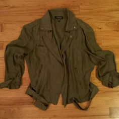 Bebe Olive Green Silk Moto Jacket Like new condition. Gold hardware. bebe Jackets & Coats