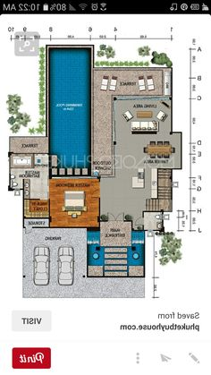 Small Modern House Plans, Contemporary House Plans, Home Design Floor Plans, House Floor Plans, Villa Design, House Design, Resort Plan, Circle House, Bali House
