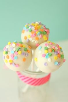Confetti cake pops. I'm making these for my husband's birthday! (Maybe not with pink though...but maybe).