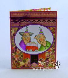 Art Impressions Rubber Stamps:  Birthday Couple (Sku#1920)  Golden Oldies ... Handmade card.
