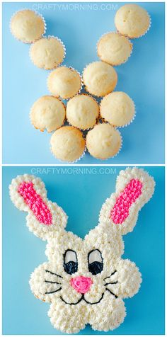 Pull Apart Easter Bunny Cupcake Cake - Such a fun dessert to make with the kids! Crafty Morning Pull Apart Easter Bunny Cupcake Cake - Such a fun dessert to make with the kids! Easter Bunny Cupcakes, Easter Treats, Easter Food, Bunny Cakes, Easter Cake Easy, Easter Snacks, Easter Baking Ideas, Easter Cup Cakes Ideas, Deserts For Easter