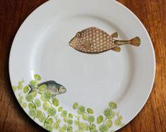 """assiette porcelaine """"fishy fish"""" - Geomertrique"""