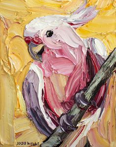 Major Mitchel Cockatoo, Jodie Wells, Oil on Canvas, Texture Painting, Painting & Drawing, Pallette Knife Painting, Palette Knife, Bird Artwork, Guache, Wow Art, Art Abstrait, Animal Paintings