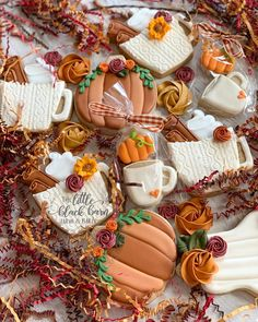 27 days until Fall🍁🍂 All the Pumpkin Spice and Sweater Weather feels today as we get our Holiday Calendar ready to share! Fall Decorated Cookies, Fall Cookies, Thanksgiving Cookies, Pumpkin Cookies, Cut Out Cookies, Iced Cookies, Cute Cookies, Royal Icing Cookies, Holiday Cookies