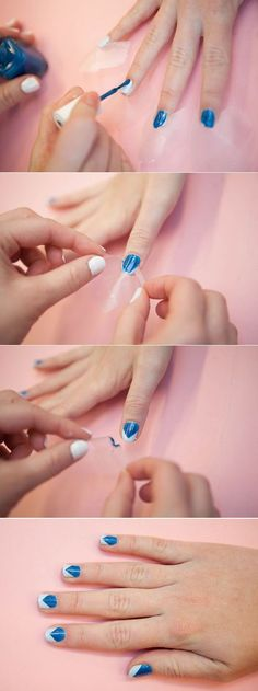 Life-Changing Hacks for Doing Your Nails Love this design-so easy! Plus a great webpage---Tricks for Painting Nails - Nail Art HacksLove this design-so easy! Plus a great webpage---Tricks for Painting Nails - Nail Art Hacks Nail Polish Hacks, Nail Art Hacks, Easy Nail Art, Nail Tips, Diy Nails, Cute Nails, Pretty Nails, Manicure E Pedicure, Makeup Tips