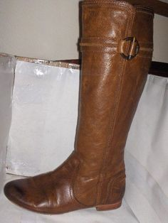 WOMENS FRYE COGNAC LEATHER KNEE HIGH BOOTS SIZE 8 M JILLIAN TOGGLE..  | eBay
