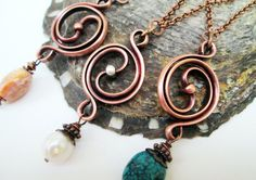 Balance Pendant Necklace, Yin Yang design, two-toned raw copper and silver