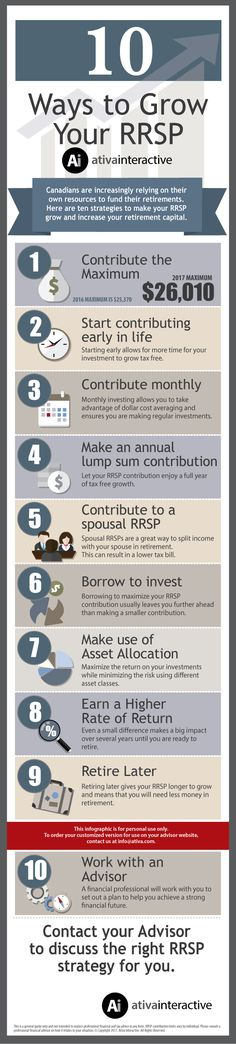 10 Ways to Grow Your RRSP Infographic. These ten items will help your RRSP grow faster.