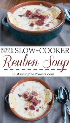 How to Make Keto Slow Cooker Reuben Soup   This soup has all your favorite salty and tangy flavors from a reuben sandwich without all the carbs! Perfect for low-carb and gluten-free diets. 343 Calories, 22.8g Protein, 1.3g net carbs and 25.6g Fat per serving. Click through to get the simple recipe!