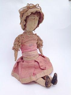Antique American Cloth Doll 1875-1890 - RARE