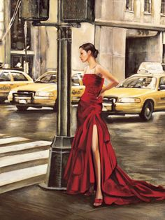 Red dress, yellow taxi will travel.(Woman in New York ~ Art Print by Edoardo Rovere) New York Taxi, Black Splash, Yorkie, Female Art, Lady In Red, Giclee Print, Art Decor, Art Prints, Dresses