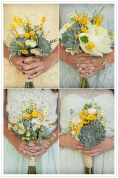 for bridesmaids: succulent bouquets with billy buttons and a dahlia or two
