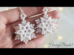 "Easy Beading Tutorial, ""Let it Snowflake' Earrings, Christmas Snowflake earrings… - Patchwork Beaded Earrings Patterns, Seed Bead Earrings, Beading Patterns, Diamond Earrings, Hoop Earrings, Emerald Diamond, Unique Earrings, Bracelet Patterns, Flower Earrings"