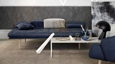 Blue leather daybed