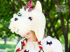 Scottish Terrier or Westie Puppy Dog Animal Hat Crochet Pattern for Babies Kids and Adults by IraRott