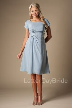 modest bridesmaid dresses in downtown Salt Lake City, the Celeste at LatterDayBride and Prom