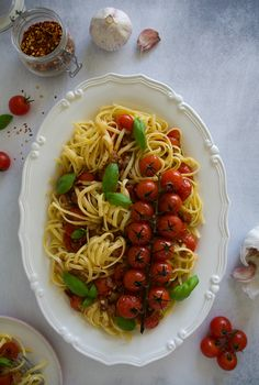 Linguine with Roasted Cherry Tomatoes, Crispy Bacon & Garlic Gluten Free Pasta, Gluten Free Recipes, Roasted Cherry Tomatoes, Linguine, 4 Ingredients, Food Styling, Dairy Free, Food Photography