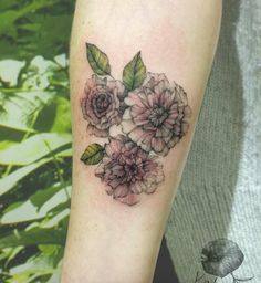 Unique floral forearm piece by Katy Hayward