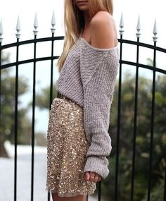 Champagne silver sequin skirt grey gray slouchy sweater | 26 Fashion Rules You Should Break Immediately